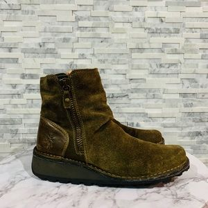Fly London rust Green suede short zip boots